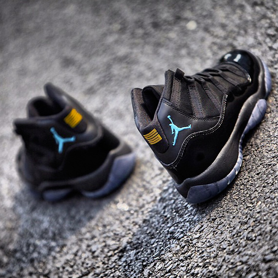 the latest a43f4 50c9a In all-black with sky blue and varsity maize accents, it is also the first  new colorway for Air Jordan XI in sometime. The actual release date is the  21st ...